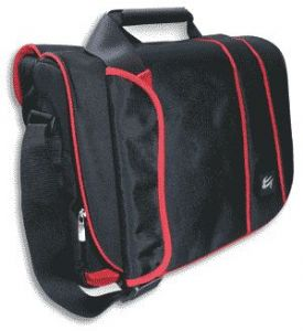 "Case Gear: Messenger Traveller Shoulder Pack 14"" Widescreen Notebook Case Black/Red"